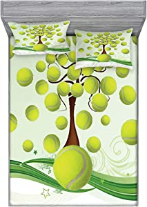 Ambesonne Tennis Fitted Sheet & Pillow Sham Set, Tennis Balls Pattern with Swirls Pattern Abstract Composition in Green, Decorative Printed 3 Piece Bedding Decor Set, Queen, Green Brown