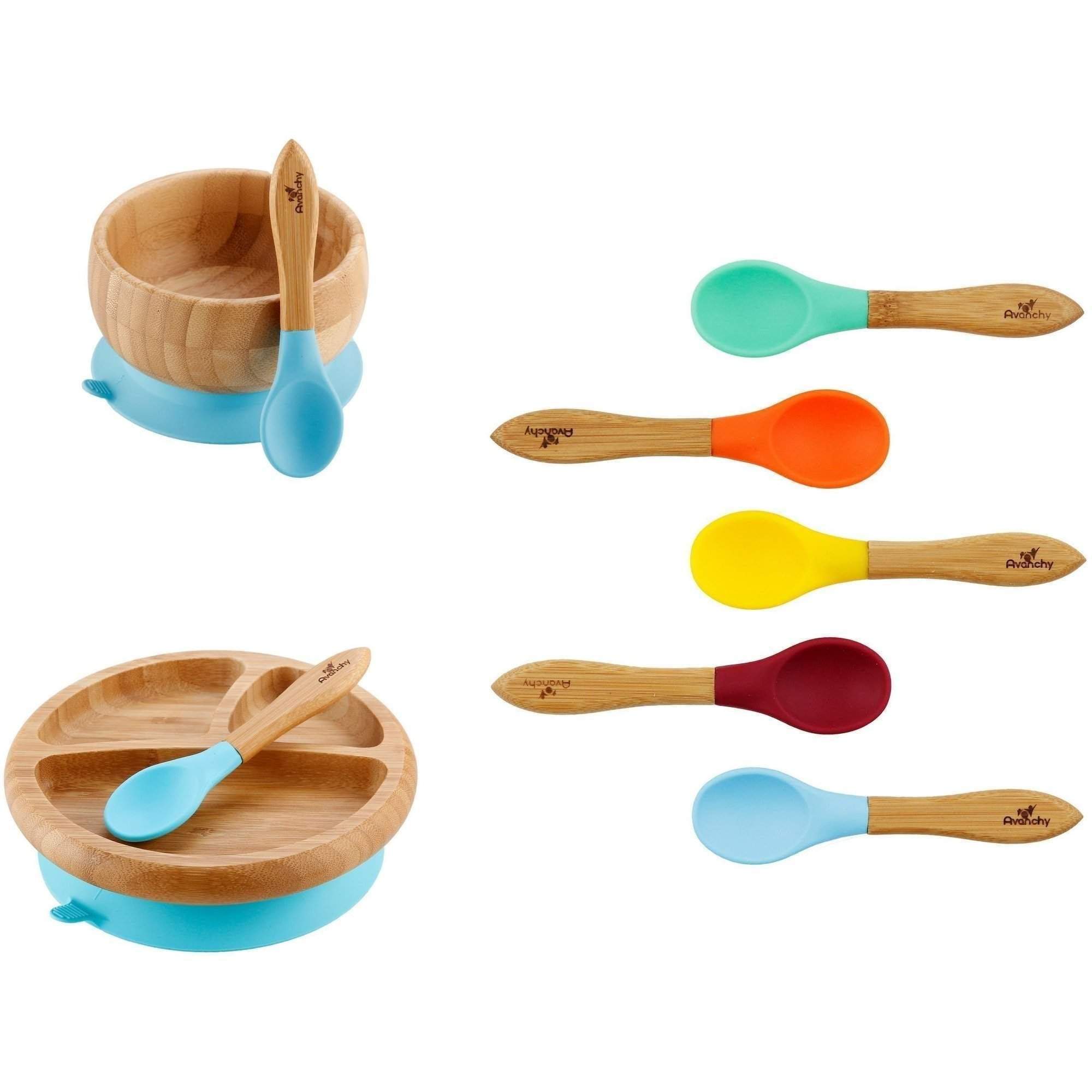 Rainbow Gift Set Blue - Baby Shower, Baby Registry, Home Set & More. Baby Girl, Baby Boy, Unisex. Baby Bowl Set + Baby Plate Set + Assorted Baby Spoons Set. FDA Approved BPA Free