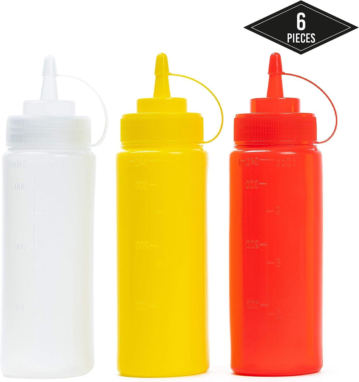 6 Biberon Salsas con Tapas de Rosca, 340ml (Rojo Transparente Amarillo) - Dispensador de Botellas de Plástico para Condimentos Ketchup Mostaza Vinagre Salsa Aceite - a Prueba de Fugas y Libre de BPA.