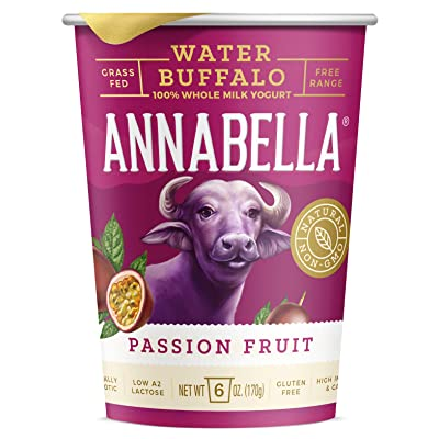 A2 Water Buffalo Yogurt (Passion Fruit) 6oz Cup - 12 Cups - A2/A2 Water Buffalo Milk, Non-GMO, Gluten Free, 100% Grass Fed, Higher Protein, More Calcium, Less Cholesterol and Lactose: Grocery & Gourmet Food