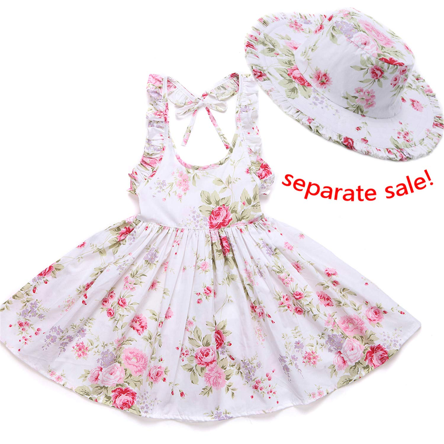 Baby Girls Dress Summer Beach Style Floral Print Party Backless Dresses for Girls Vintage Toddler Girl Clothing 1-8Yrs