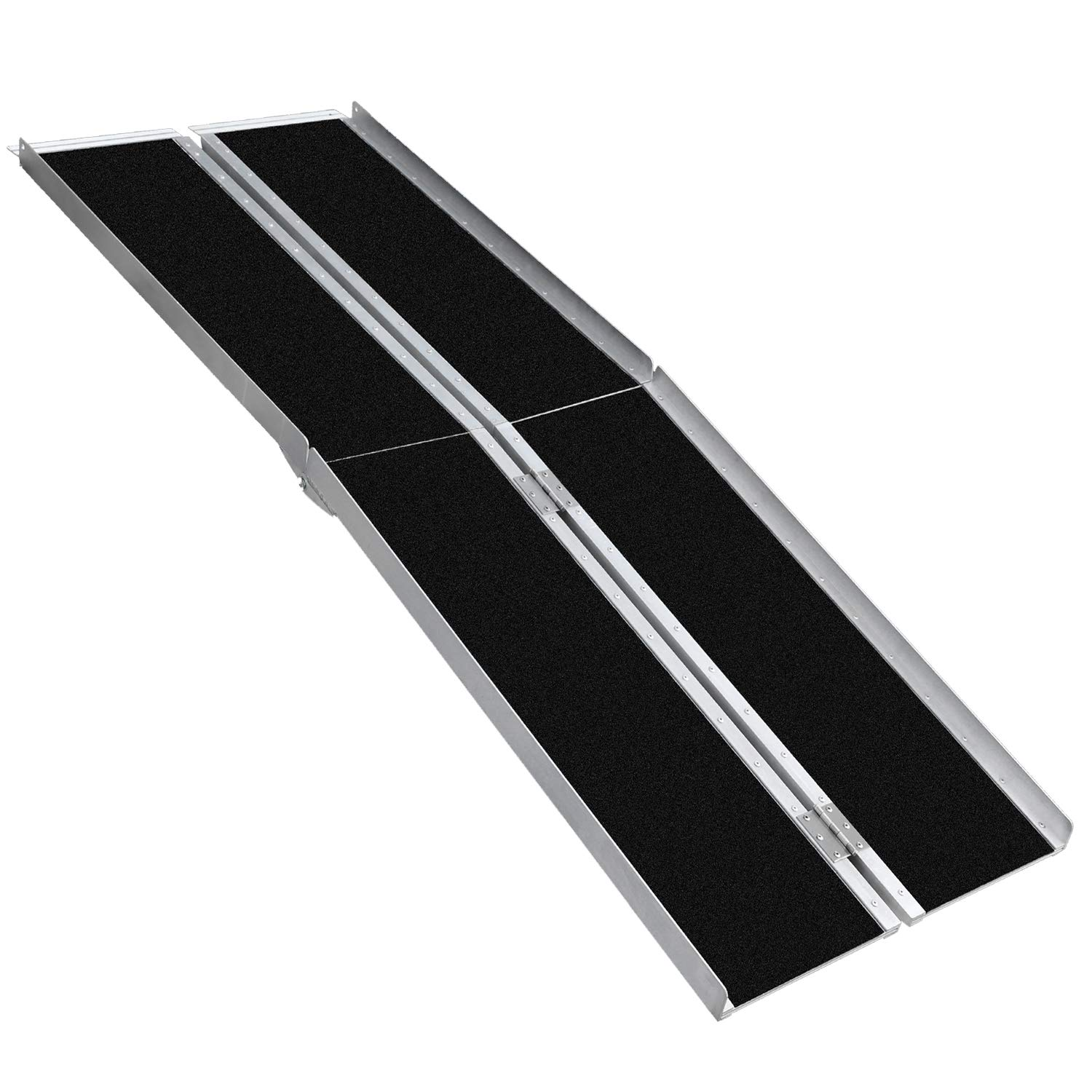 Aluminum Multifold Wheelchair Ramp Non-Skid Folding Mobility Scooter Portable Traction Ramp with Carrying Handle 6 Feet
