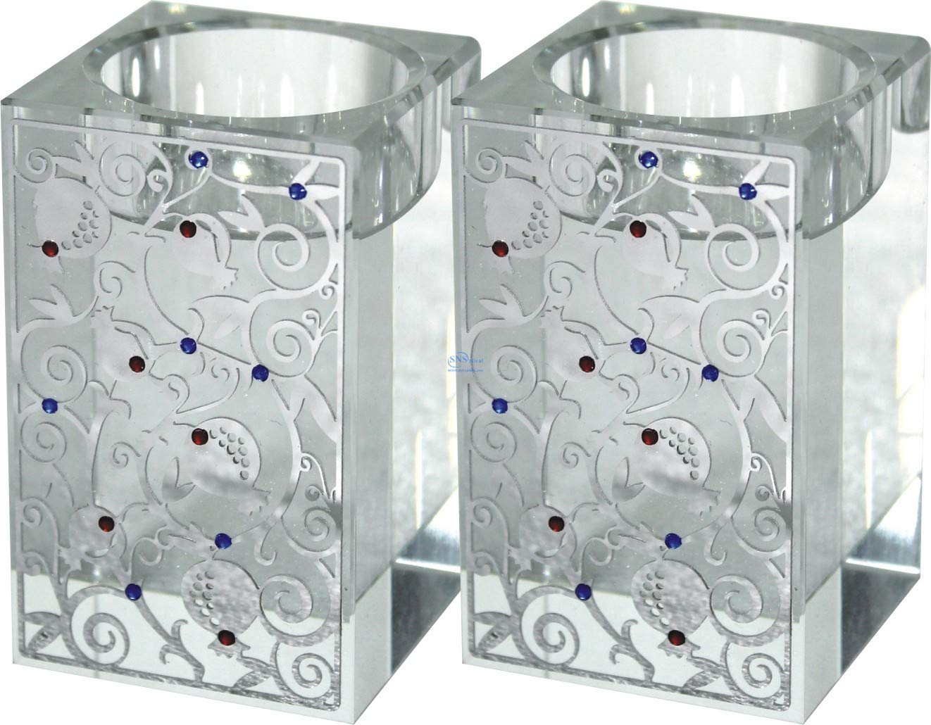 SNSArts /& Judaica Beautiful Square Crystal Candlesticks 8cm with Metal Plaque-Pomegranate SNS-UK57883