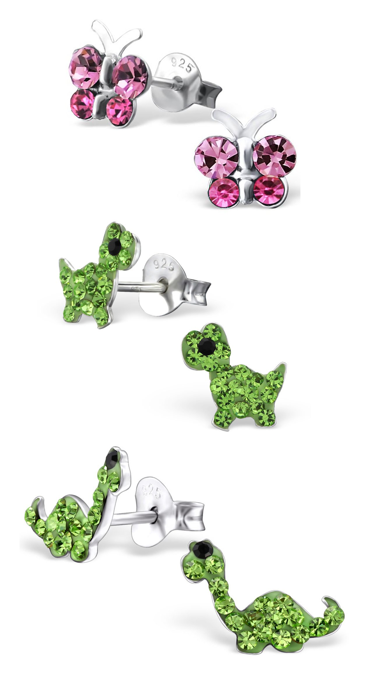 Best Wing Jewelry .925 Sterling Silver''Butterfly and Dinosaur'' Set Stud Earrings for Children and Teens (3 Pairs) by Best Wing Children's Earrings (Image #1)