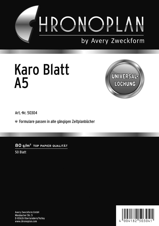 Avery - Recambio para cuaderno de anillas A5, hojas cuadriculadas Avery Dennison 50304