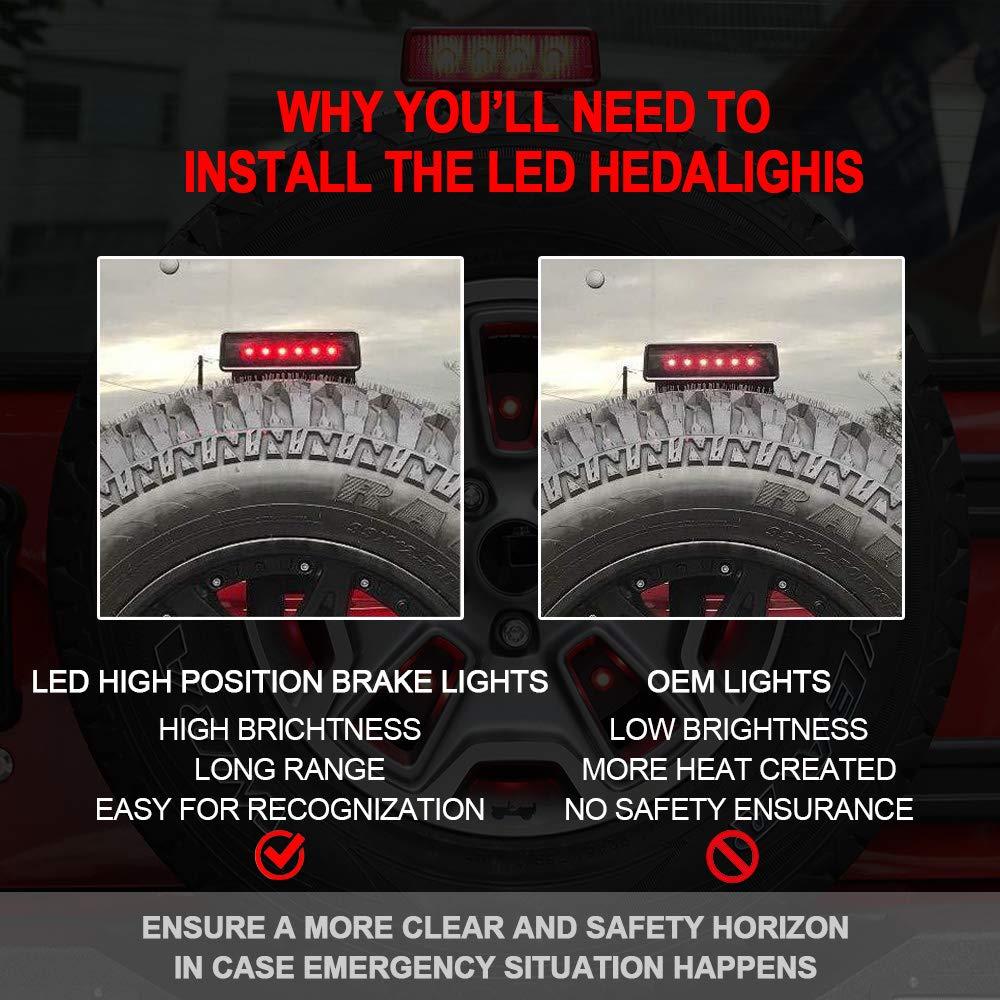 GOHAWKTEQ Smoked LED Tail Brake Lights Lamps for 2007-2017 Jeep Wrangler Brake Reverse Light Rear Back Up Lights G001JP