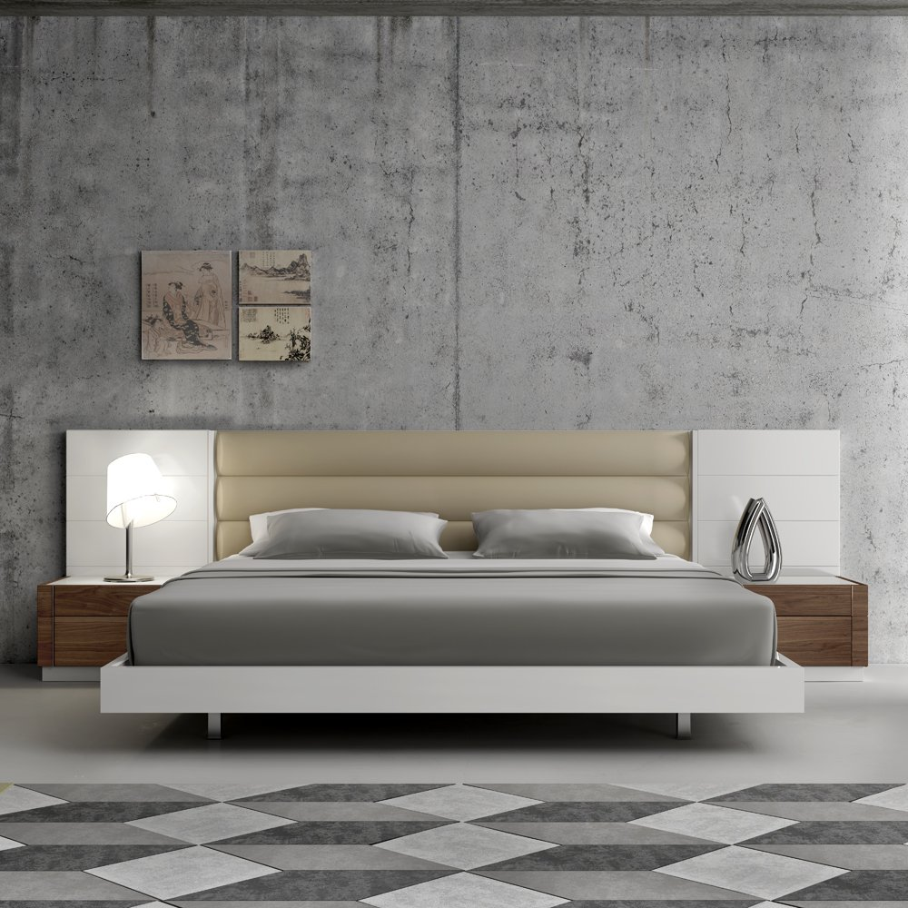 Amazon.com: Ju0026M Furniture Lisbon White Lacquer U0026 Walnut Wood Veneer Bedroom  Set   King Size: Kitchen U0026 Dining
