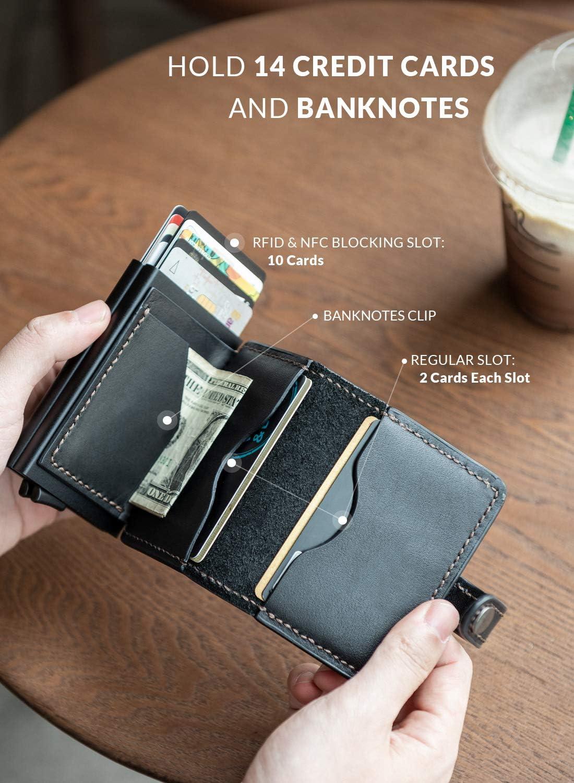 VULKIT Porta Carte di Credito con blocco RFID Portafoglio uomo in vera pelle bifold automatico I Clip con scomparto per banconote finestra per documenti e tasca per monete Grigio