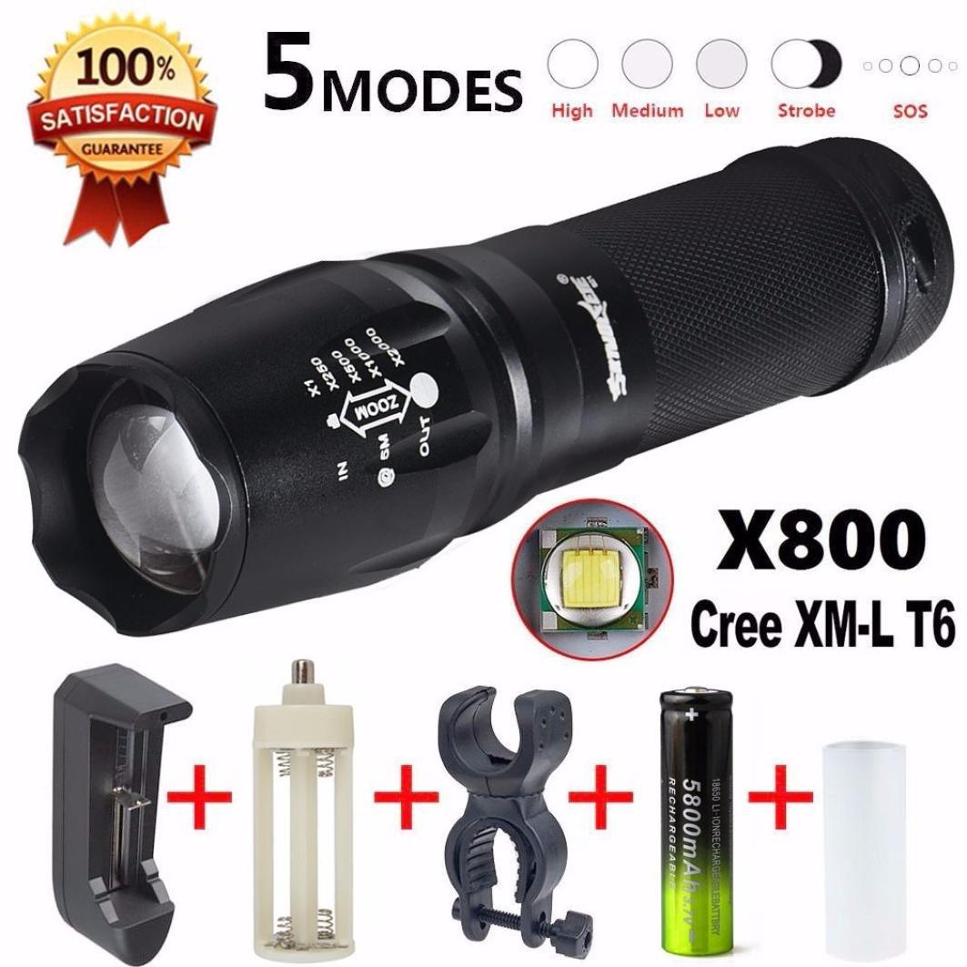 LandFox Flashlight,G700 LED Zoom Flashlight X800 Military Lumitact Torch 18650 Battery Charger