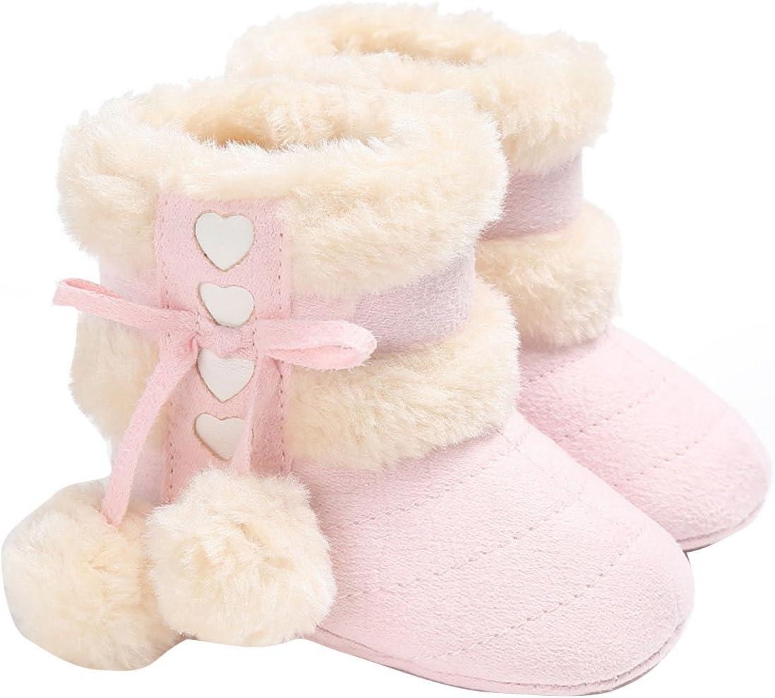 ZUMUii Butterme Baby Caliente Botas De Algodón Suave Antideslizante Soles Lindo Zapatos De Niño para 0-18 Meses Bebé(12CM,Rosa)