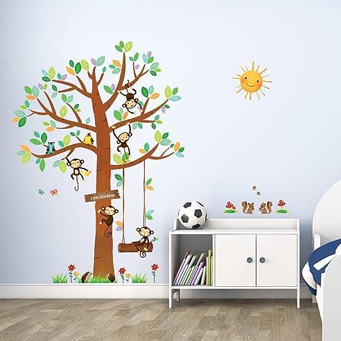 Decowall DM 1401 5 Affen Großer Baum Waldtiere Tiere Wandtattoo Wandsticker  Wandaufkleber Wanddeko Für Wohnzimmer