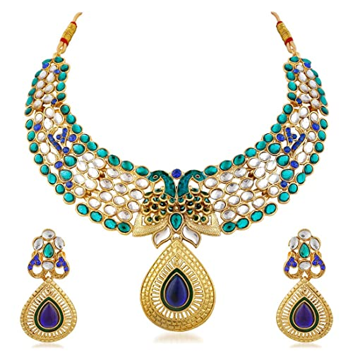 863770943f Buy Apara Gold Plated Necklace Set with kundan and Peacock Design and  Meenakari for Women Online at Low Prices in India | Amazon Jewellery Store  - Amazon.in