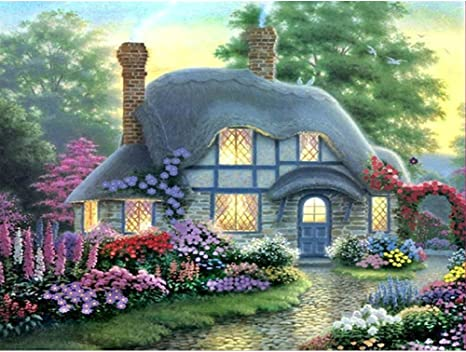 DIY 5D Diamond Painting Full Round Drill Kit Rhinestone Picture Art Craft for Home Wall Decor 12x12In Cottage in the Flowers