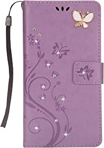 Huskylove Luxury 3D Relief Multi-Function Handmade Bling Rhinestone Soft Slim Wallet Case for iPhone x/xs XSMax 5.8 6.5 Flower Butterfly Leather Case for Girls Women (Light Purple, xsmax)