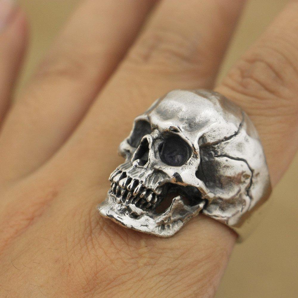 LISNION 925 Sterling Silver High Detail Skull Ring Mens Biker Punk Ring TA50