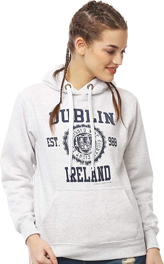 Green Colour Pullover Hoodie With Dublin Ireland Est 988 Print
