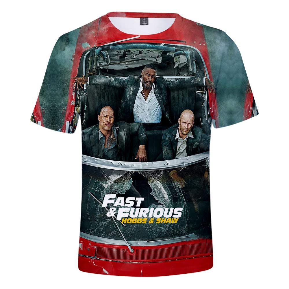 YanmmYan Hobbs and Shaw The Fast N Furious Teen 3D Printing Grid Breathable Shirt T-Shirt