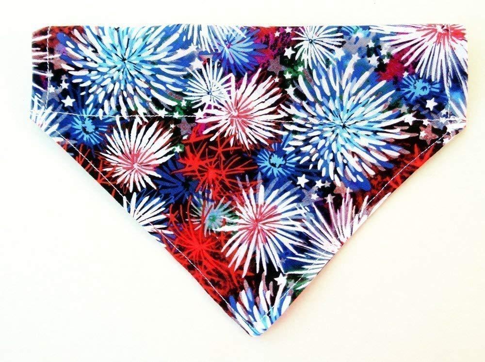 Starburst Fireworks Print Red White and Blue Patriotic Dog Bandana, Over the Collar Slip Thru Thread Through Pet Bib Doo Rag
