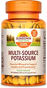 Sundown Multi-Source Potassium, 90 Tablets (Pack of 6)(Packaging May Vary)