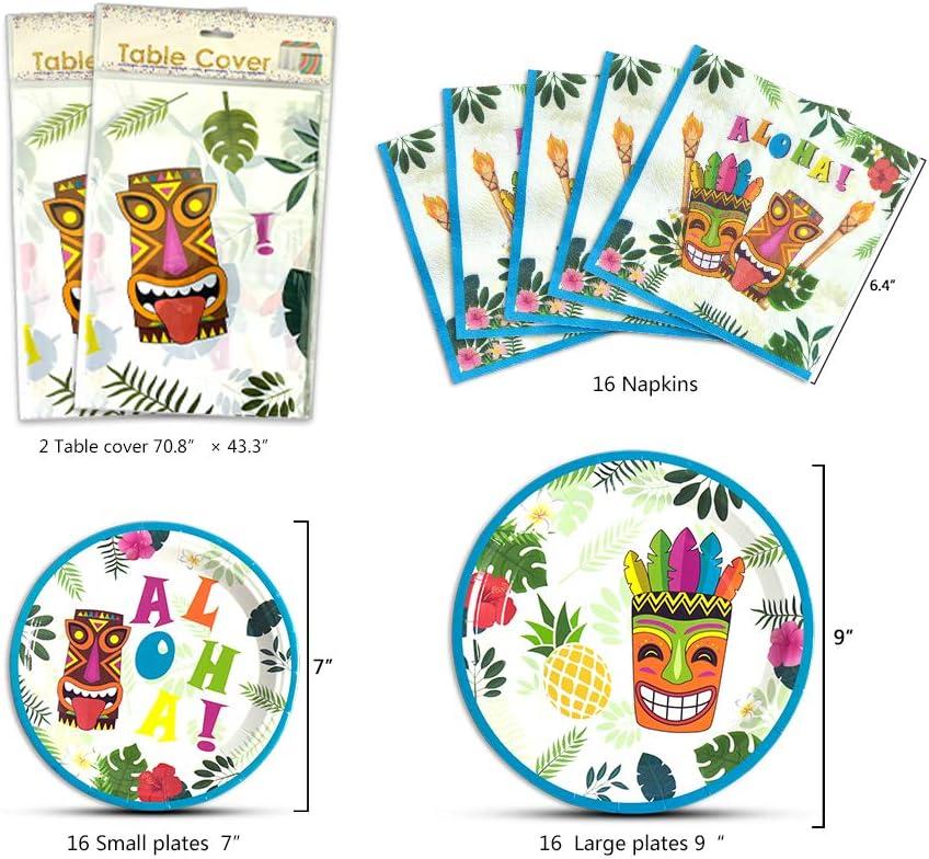169 PCS Fournitures de F/ête Luau pour Enfants Anniversaire Banni/ère Ballons Sac /à Couverts Assiettes Plaques nappes Serviettes Pailles Ustensiles WERNNSAI D/écoration de F/ête Hawa/ïen Aloha