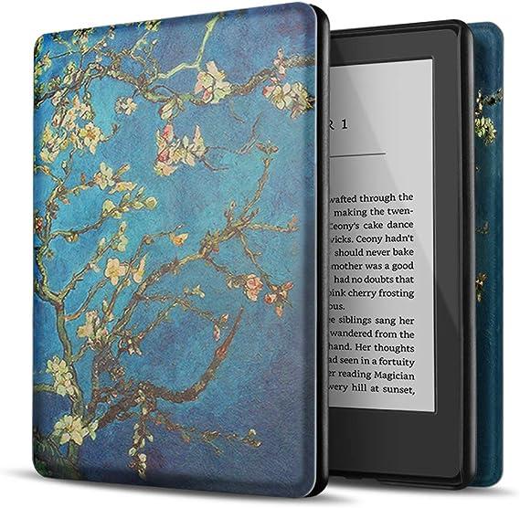 TNP Estuche Nuevo Funda Nuevo para Kindle 10 Generación 2019, Cubierta Ultra Fina y Ligera, Diseño de Sueño Automático, Cierre Magnético, Protección de Caída Golpe Daños Arañazos, Almendro en Flor: Amazon.es: Electrónica