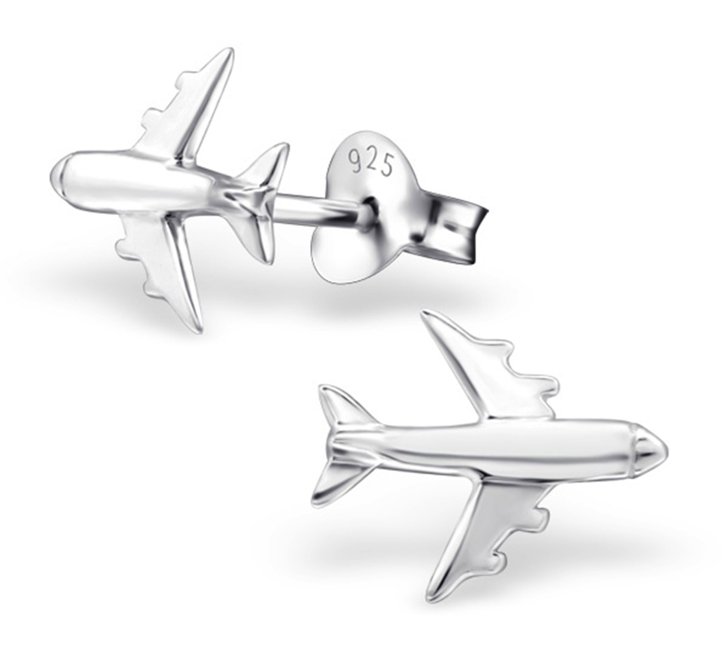 Best Wing Jewelry .925 Sterling Silver Airplane Stud Earrings for Children and Teens