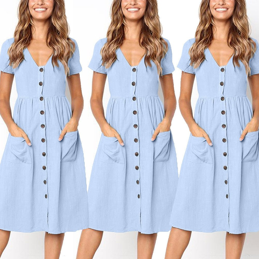 TOTOD Dress for Women Fashion Solid Short Sleeve Buttons V-Neck Dress Summer Holiday Beach Sundress Light Blue by TOTOD (Image #6)