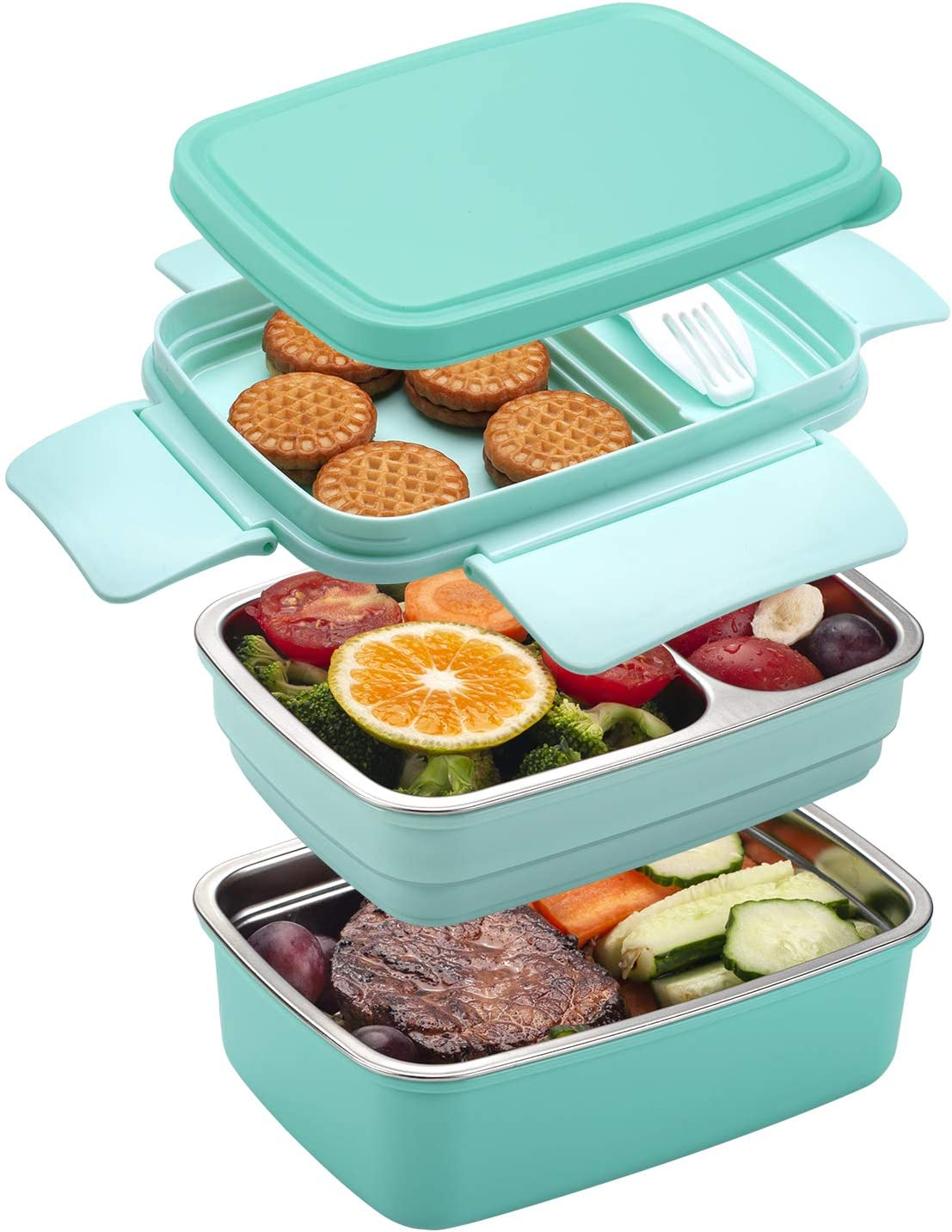 Freshmage Stainless Steel Bento Box for Adults & Kids, Leakproof Stackable Large Capacity Dishwasher Safe Lunch Container with Divided Compartments, Green