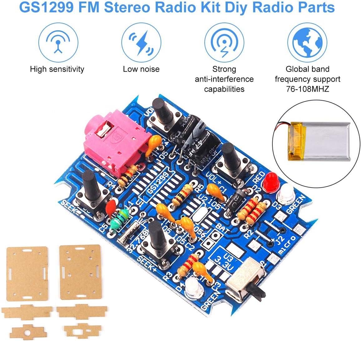 Fm Radio Modul Fm Stereo Radio Kit Diy Radio Parts Gs1299 3 7 V 4 2 V Mit 250 Mah Akku Digital Production Diy Radio Parts Support 76 108 Mhz Frequenz Radio Set Diy Mit