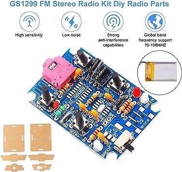 Módulo de radio FM, kit de radio DIY estéreo estéreo digital GS1299 3.7V 4.2V con batería de 250mAh, soporte 76-108MHZ Radio de frecuencia con estuche de acrílico: Amazon.es: Coche y moto