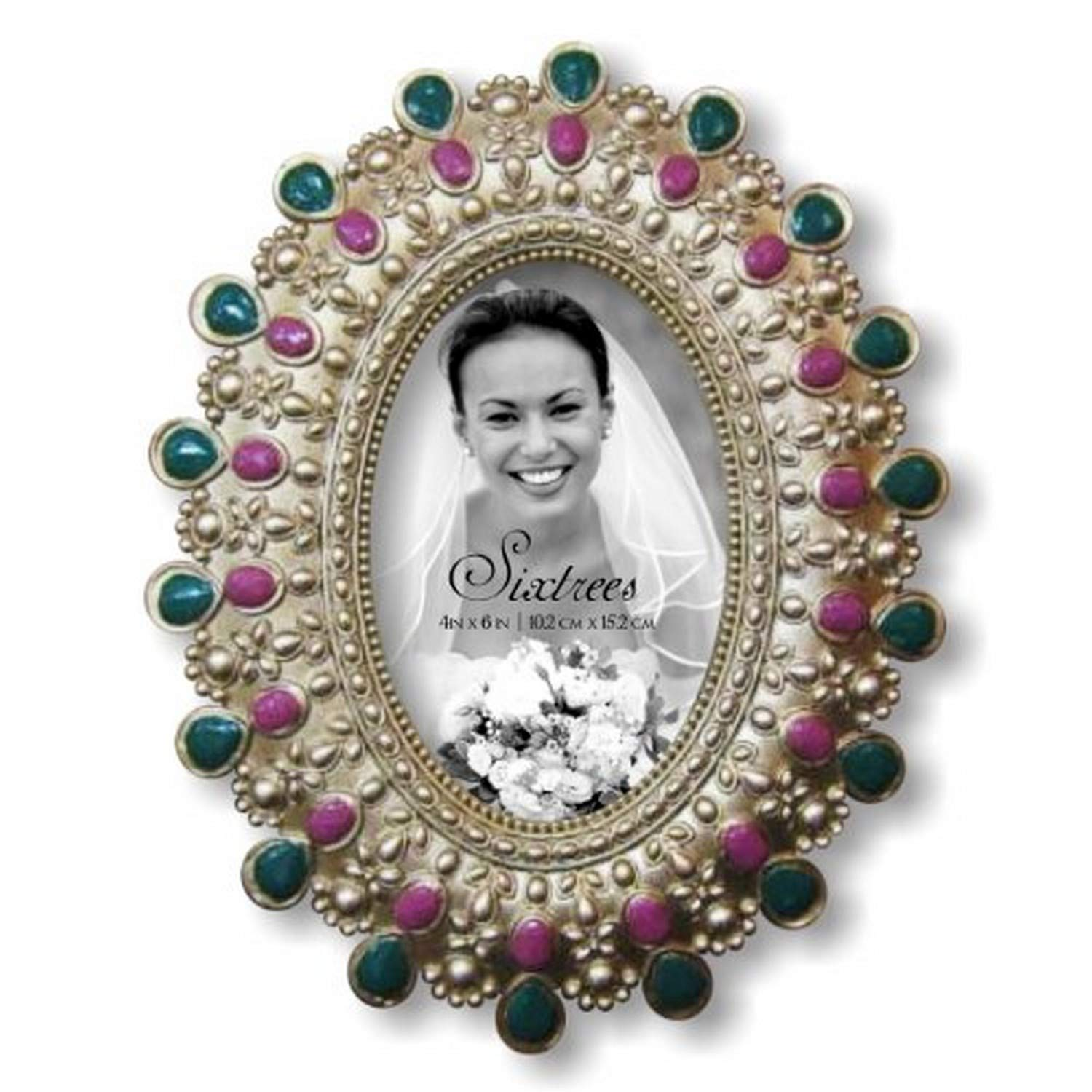 SIXTREES Green//Purple Jewel Oval 4 by 6-Inch Frame