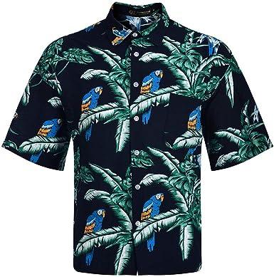 ACEBABY Camisa Hawaiana Hombre Encanto Moda Camisa Suelta de Manga Corta con Estampado de Solapa de Moda de Verano Adecuado para Vacaciones en la Playa y Fiestas: Amazon.es: Ropa y accesorios