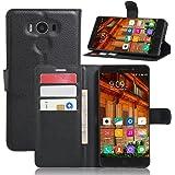 Custodia per Elephone P9000 Vikoo Flip Cover in Pelle PU Case Portafoglio con Built-in Card Slot per Case per Elephone P9000 Smartphone Case - Nero