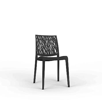 FLOW 4 sillas de Resina monobloque London Twist by Antracita ...