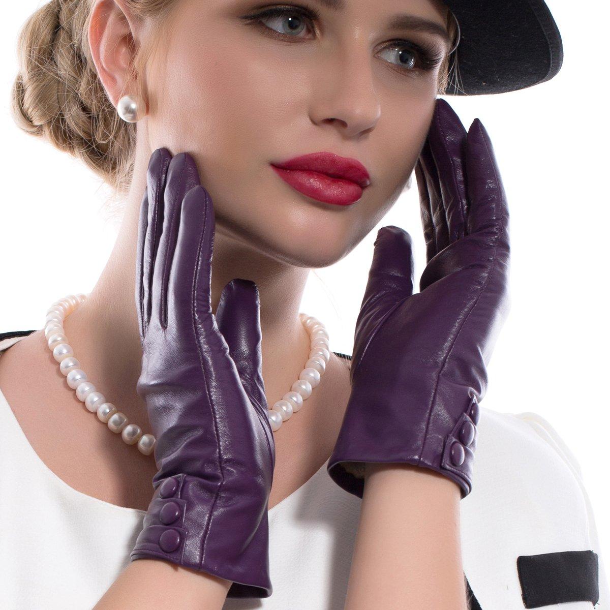 MATSU Fashion Women Winter Warm Leather Touch Screen Gloves 5 Colors M9213- (XL, Purple (Long Fleece or Cashmere lining))