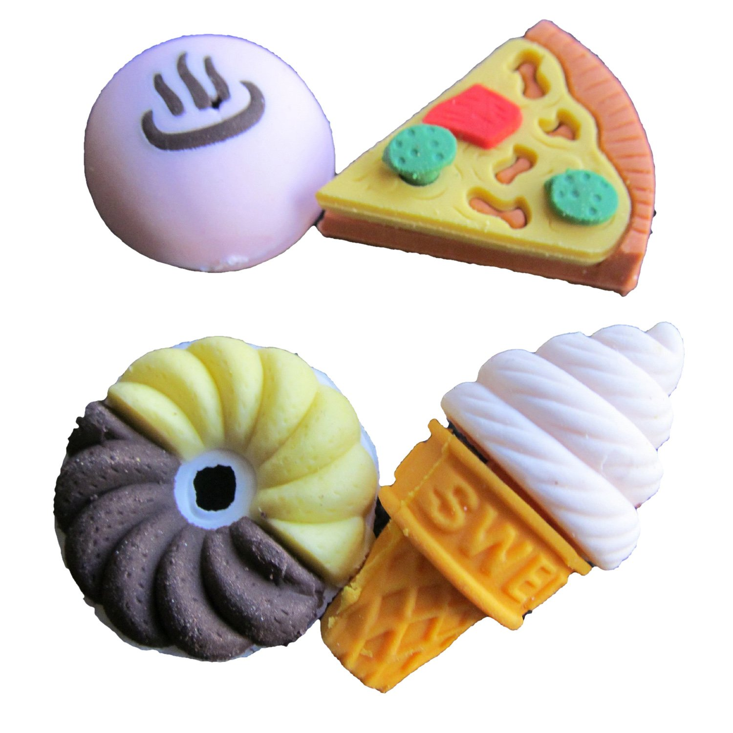 SODIAL(R) Assorted Food Novelty Cute Pencil Rubber Eraser Erasers Stationery Ice Cream Cake Kid Fun Toy