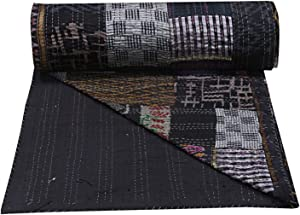 Charoli Enterprises Indian Queen Patola Silk Bedspread Silk Kantha Quilts Handmade Patchwork Reversible Quilts Black Patola Quilted Blanket (90'' x 108'' Inches)