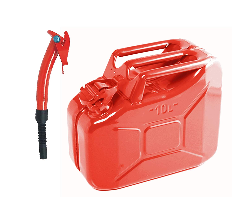 Rojo Boquilla 10lt Metal Rojo Jerry Gerry Lata Combustible Almacenamiento Contenedor Gasolina Diesel 10L 10Lt