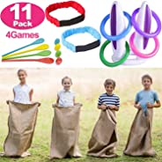11 Set Easter Outdoor Party Games for Kids Adults Family 4 Kinds Lawn Game Include Potato Sack Race Bags, Egg Spoons Game, I