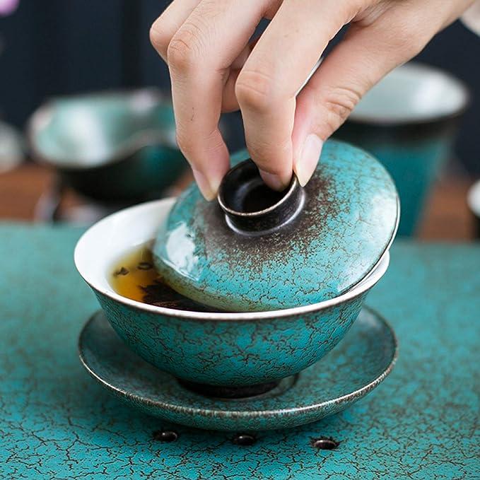 Lifattitude Porcelain Kung Fu Tea Cup and Saucer with Lid Black Yellow Chinese Traditional Gaiwan Sancai Tea Bowl Tea Set Dragon Pattern
