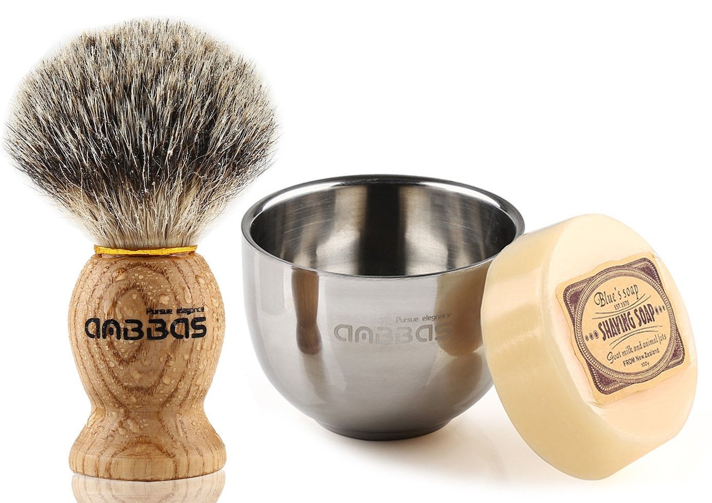 3IN1 Shaving Set, Anbbas 100% Pure Badger Shaving Brush Natural Manchurian Ash Wood Handle and 2 Layers Stainless Steel Shaving Bowl, with Goat Milk Soap 100g for Men Traditional