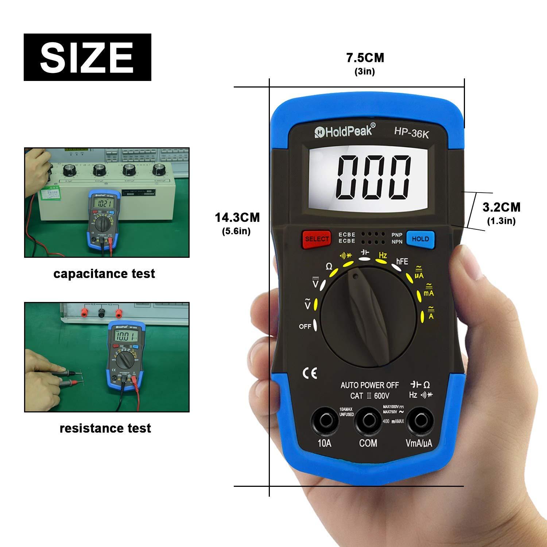 Holdpeak Multimeter,HP-36K,3999 LCD Ranges,Test for DC/AC