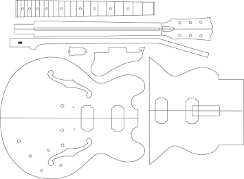 Amazon.com: Electric Guitar Layout Template - 335: Musical Instruments