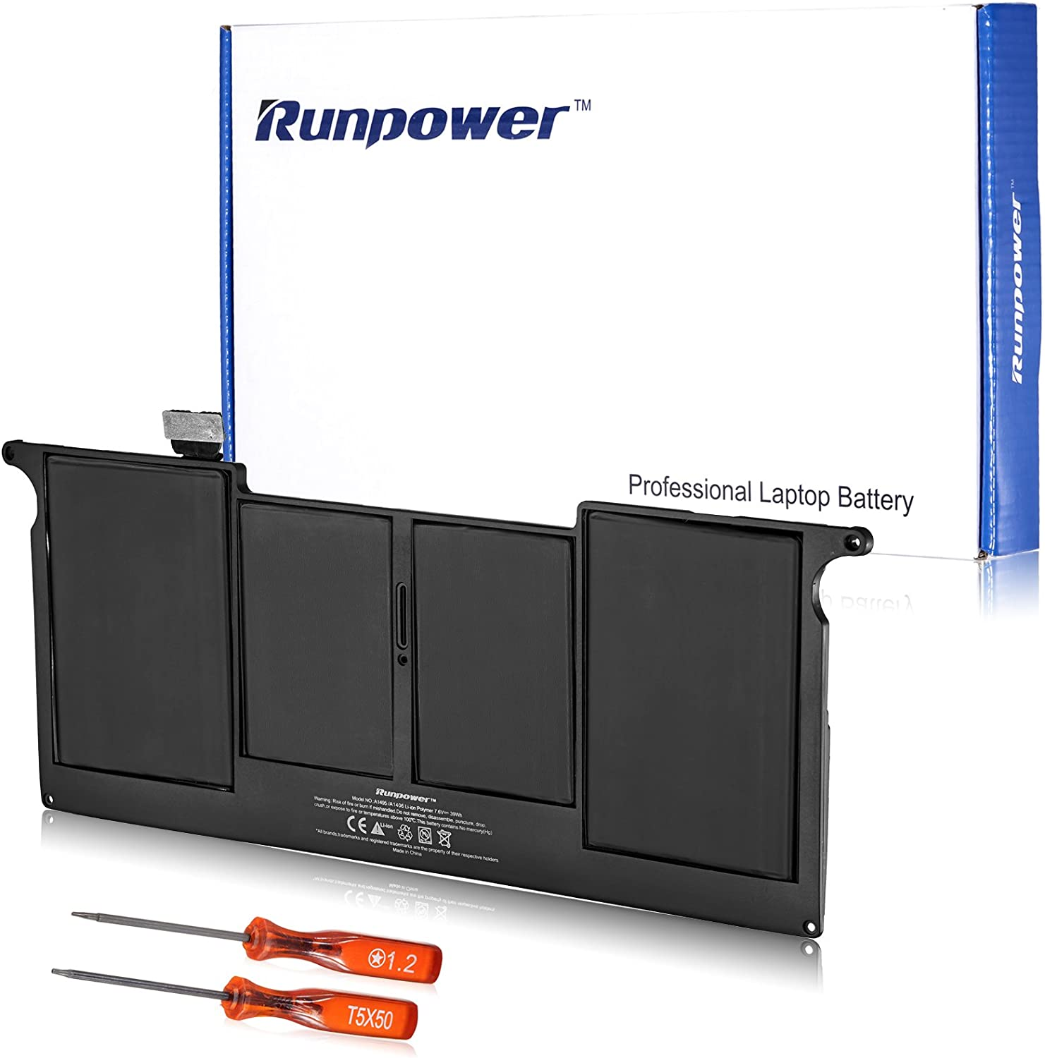 """Runpower New Laptop Battery for A1406 A1495 MacBook Air 11"""", Also fits A1370 (Mid 2011 Version) A1465 (Mid 2012 Mid 2013 Early 2014 Version) 020-7376-A 020-7377-A [Li-Polymer]"""
