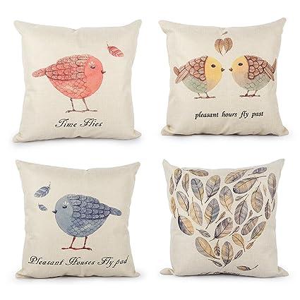 Top finel lino y algodón fundas de cojín para sofá almohadas Home decorativo juego de 4, 45 x 45cm, serie