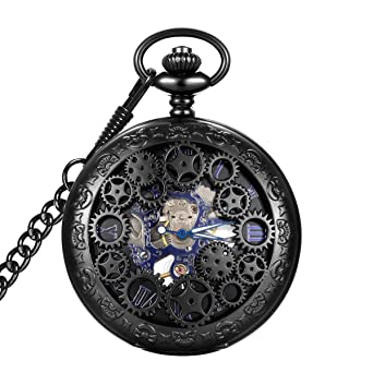 Review LYMFHCH Steampunk Blue Hands Scale Mechanical Skeleton Pocket Watch