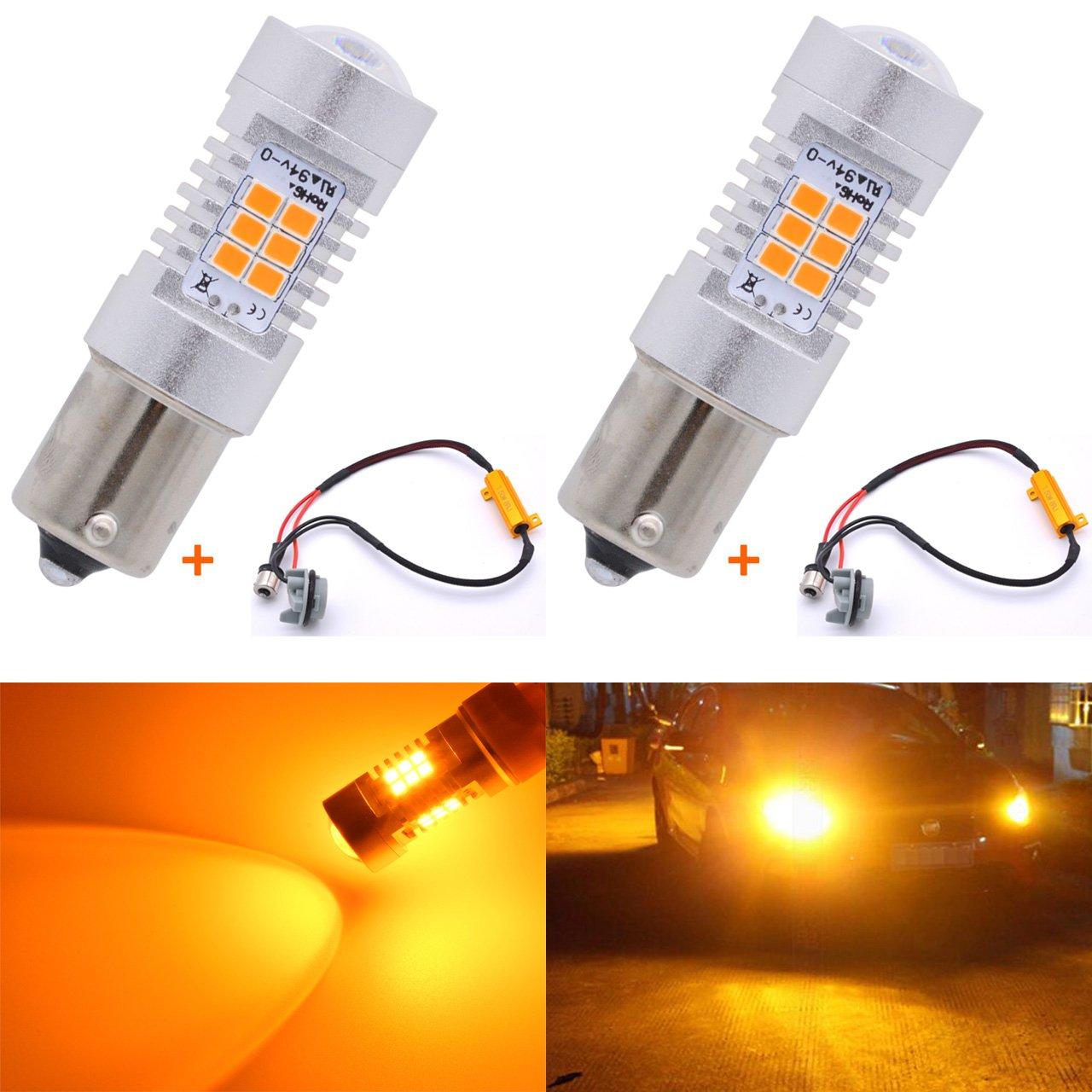 Katur 7056 1156 BA15S 1141 P21W Ampoules LED Blanc laiteux 2835 21SMD 80 W Haute Puissance 12 V Pour clignotant, feux de recul, feux stop (lot de 2)
