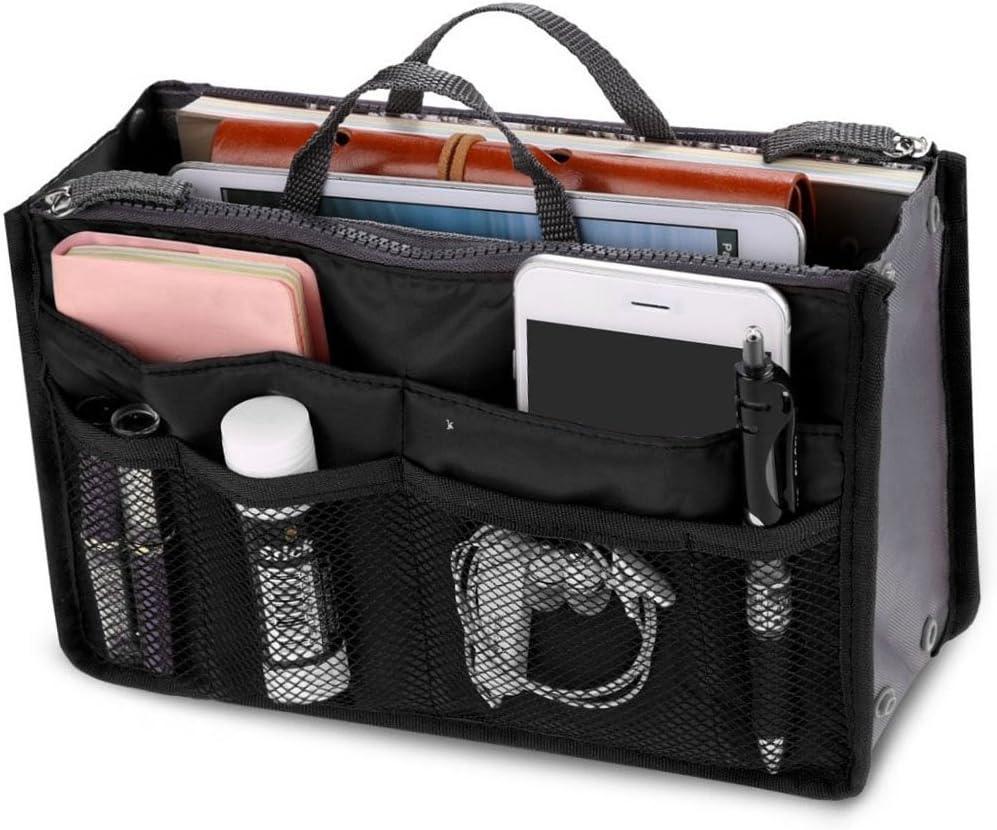New_Soul Ladies Travel Insert Handbag Organiser Tidy Bag Purse Liner Cosmetic 13 Pocket Black