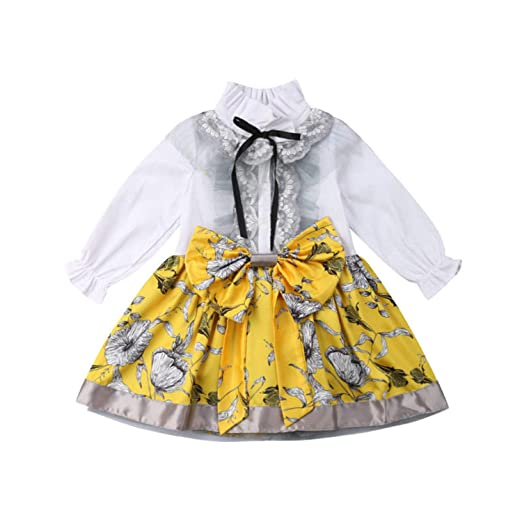 4ef5aafe90 Toddler Baby Girls Lace Flower Party Shirt Dress Large Bow Tie High Waist  Formal Dresses(