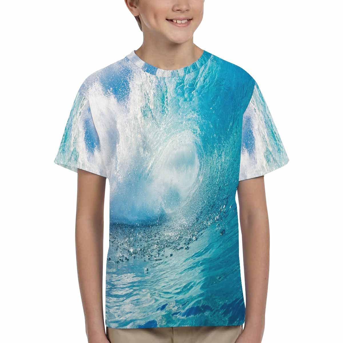 INTERESTPRINT Blue Wave Breaks Tropical Ocean Unisex Kids T-Shirts XS-XL